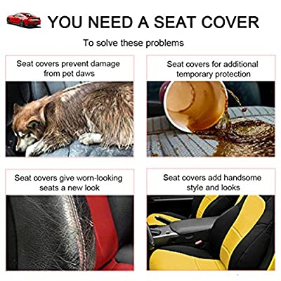 cciyu Black/Blue Polyester Car Seat Cover,Washable Auto Covers Two-Tone Accent Replacement fit for Most Cars, Split Bench: Automotive
