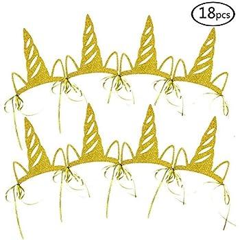 Amazon.com  SERONLINE 18pcs Unicorn Party Horn Hats Birthday Hats ... a024b782a5d5
