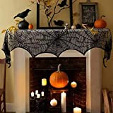 FUNISFUN Halloween Lace Cobweb Fireplace Mantle Scarf Cover, Black Cloth Spider Web Runner Door Window Curtain Kitchen Decorations Gothic Festival Party Decor, 18 x 96 Inch For Sale