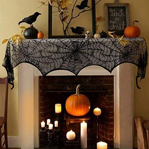 FUNISFUN Halloween Lace Cobweb Fireplace Mantle Scarf Cover, Black Cloth Spider Web Runner Door Window Curtain Kitchen Decorations Gothic Festival Party Decor, 18 x 96 Inch]()