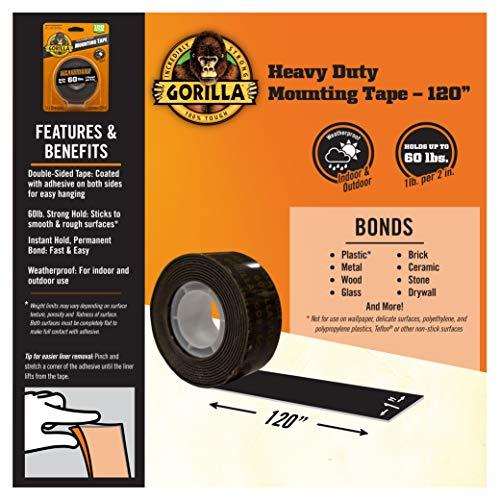 "Black Gorilla Heavy Duty Mounting Tape 1/"" x 60/"""