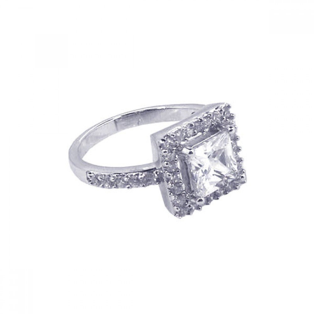 Princess Kylie Square Center Cubic Zirconia Antique Ring Rhodium Plated Sterling Silver