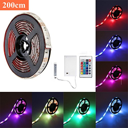 SOLMORE LED Strip Lights, RGB 6.6ft 60 LED Battery Waterproof Flexible Rope Ribbon Lights TV Backlight Battery-powered with Wireless Remote Control,Decoration Lights for DIY Party Living Room 200cm ()