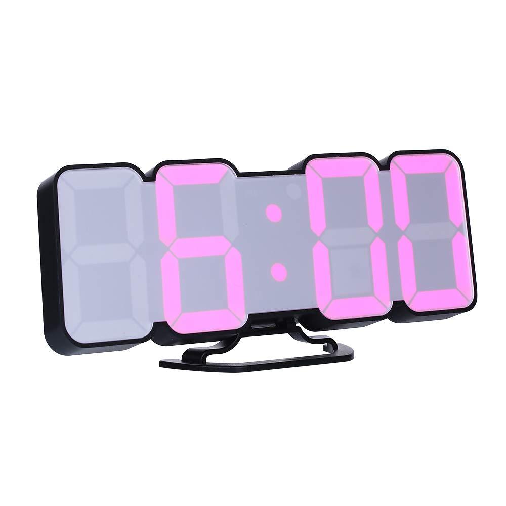 Decdeal Orologio da Parete Digitale, Sveglia da Comodino, 3D Sveglia LED con Telecomando USB Tempo/Temperatura / Display Dati 115-Colore Modifica Luminosità a 3 Livelli Controllo - Nero