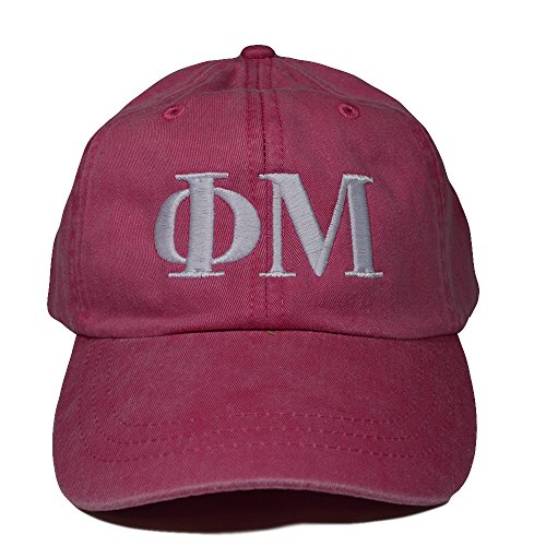 Phi Mu (L) Hot Pink with White Thread Sorority Baseball Hat Cap Greek Letter Sports Cap Adjustable - Lauren Return Policy Ralph