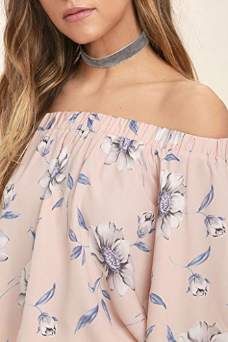 Blusas de mujer, Switchali Mujer nuevo verano floral Chaleco Moda Blusa Sin tirantes Casual Camisa linda manga larga Camisas para mujer Tops T-shirt Camiseta ropa Rosado