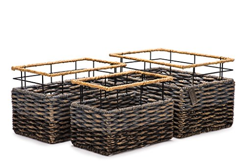 Set of 3 Strong Rectangular Handmade Accent Storage Bin Baskets- Organic Hyacinth– Luxury Woven Organizer Decor For Living, Bedrooms and Kids Rooms- Ideal For Toys, Baby Nursery and Magazines