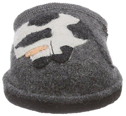 Haflinger Molly Unisex-Erwachsene Flache Hausschuhe Grau (4 anthrazit)