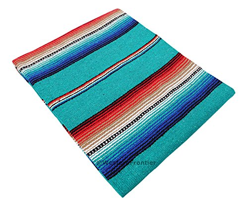 El Paso Designs Serape falsa Blanket- 57″x74″ Classic Mexican Serape Pattern in Vivid Color- Hand Woven Acrylic Falsa Blanket. (Teal) Review