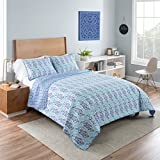 Vue 16242BEDDF/QBLU Little India 90-Inch by 90-Inch 3-Piece Reversible Full/Queen Quilt Set, Blue