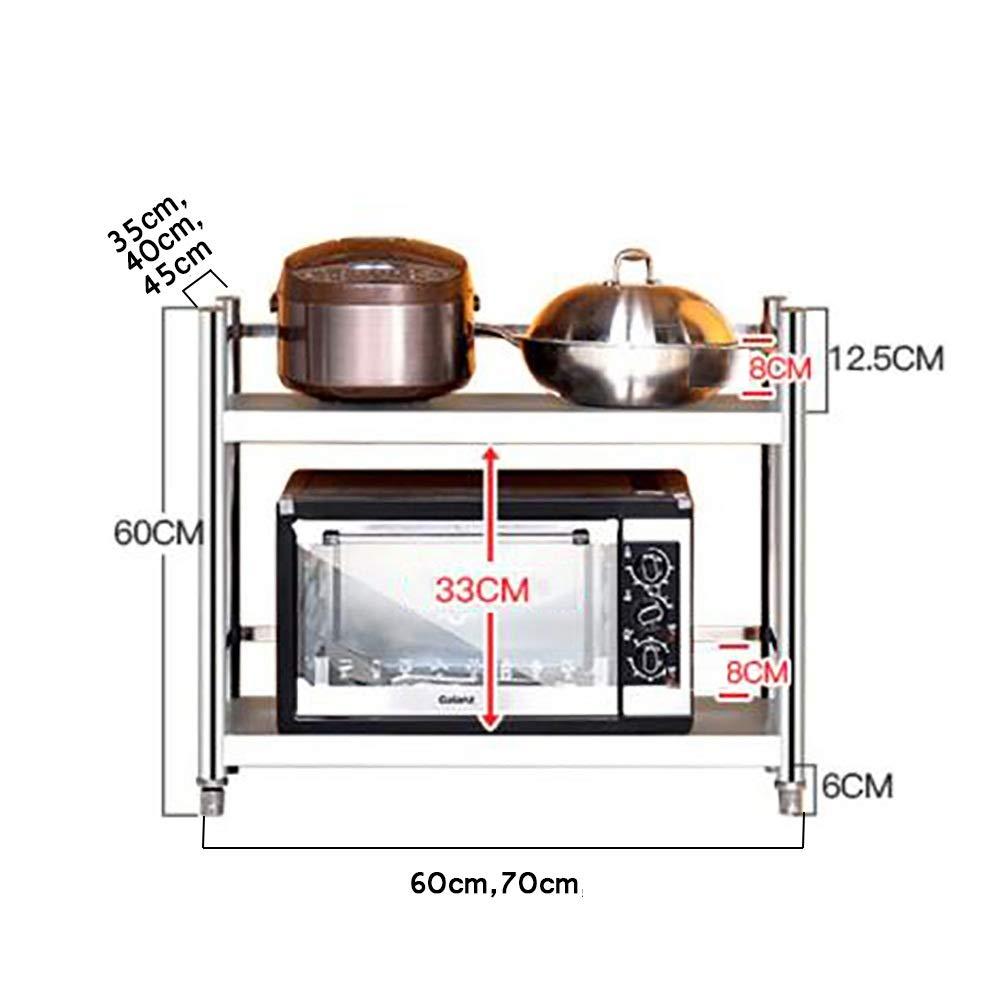 MM Metal Shelving Units for Storage, Loadable 160KG, Stable 2-Shelf Shelving Unit, Microwave Oven Rack, Multi-Function Kitchen Shelves (Size : 60cm × 45cm × 60cm)