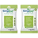 Simpleaf Flushable Wipes: Eco- Friendly, Thick and Effective, Paraben and Alcohol Free, Hypoallergenic and Safe for Sensitive Skin, Vitamin E with Soothing Aloe Vera (2 Packs)