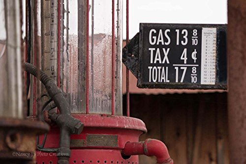 Antique Gas Pump Photographic Print Unframed Vintage Gasoline Filling Station Photo Rustic Home Decor Sign Photography Red Maroon Bronze Art Gift for Men 5x7 8x10 8x12 11x14 12x18 16x20 16x24 20x30