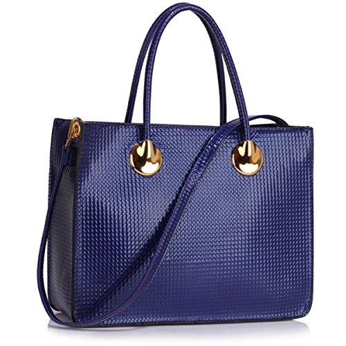 Xardi London donna grande lavoro Tote borsa a tracolla design in finta pelle verniciata donna borsetta Navy Textured