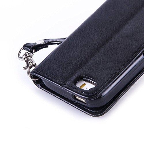 Coque pour Apple iPhone 5C ,Housse en cuir pour Apple iPhone 5C ,Ecoway Bronzante Papillon Fleur imprimé étui en cuir PU Cuir Flip Magnétique Portefeuille Etui Housse de Protection Coque Étui Case Cov