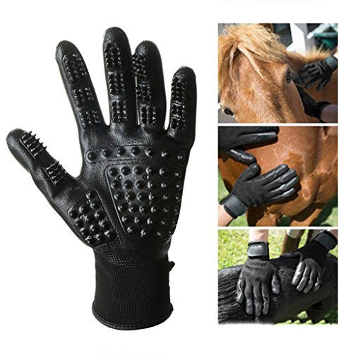 Pet Grooming Mitt Glove -Gentle Deshedding Glove Heavy Duty Deshedding Tool For Cats, Dogs & Horses Short, Long Hair Removal - Pair Of Left & Right Black Mitt,Black,5Pair by LCYCN (Image #1)