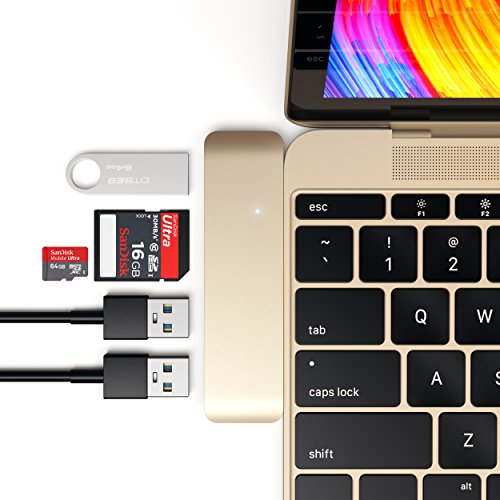 Satechi Aluminum Type-C USB 3.0 3-in-1 Combo Hub Adapter - 3 USB 3.0 Ports and Micro/SD Card Reader - Compatible with 2018 MacBook Air, 2018 iPad Air, 2015/2016/2017 MacBook 12-Inch and More (Gold)
