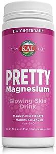 KAL Pretty Magnesium Glowing-Skin Drink | 325mg Mag Citrate + Marine Collagen | Cellular & Skin Health, 10.7oz, 70 Serv.
