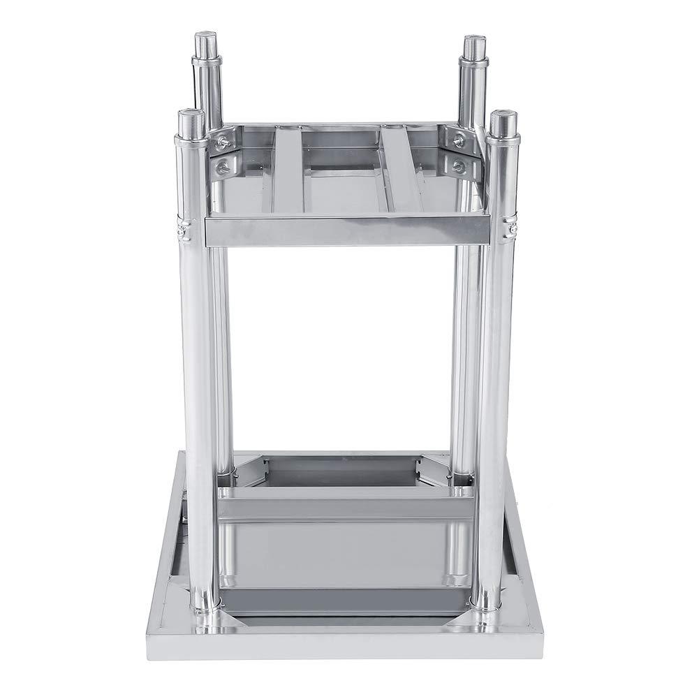Piattaforma in acciaio inox a doppio strato dimensioni selezionabili scrivania in acciaio 1 tavolo da lavoro da cucina 61X61CM