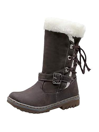 Ansenesna Stiefel Damen Schwarz Flach Gefüttert Warm Winter