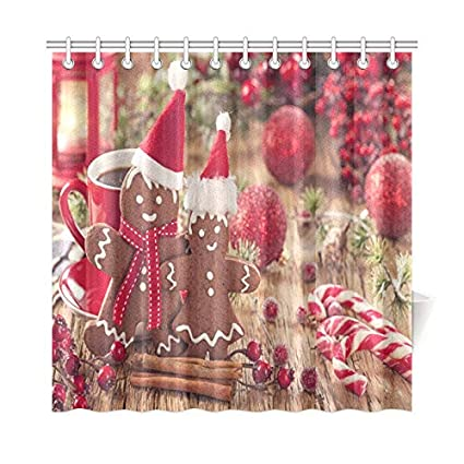 VNASKL Home Decor Bath Curtain Christmas Gingerbread Man And Red Bells Polyester Fabric Waterproof Shower