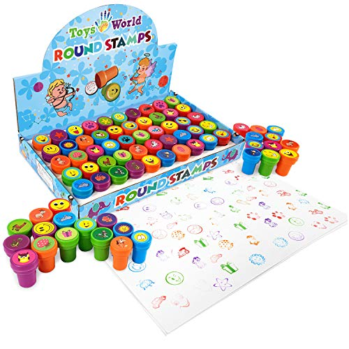 Funny Stamps for Kids - 50 PCS Assorted Stamps – Stamps for Toddlers & Teachers - 30 Designs Emoji Zoo Animal Stamps – 5 Coloring Self Inking Stampers – Party Favor – Dried UP Protection w/ POF film
