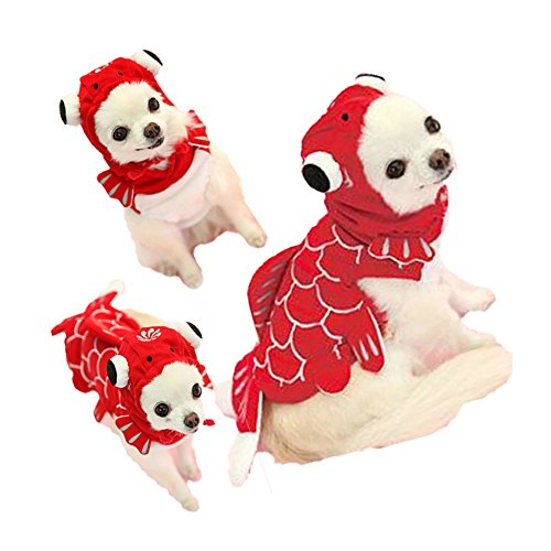 FLAdorepet Funny Halloween Dog Giraffe Costume Outfits Clothes Winter Warm Fleece Dog Pet Cat Jacket Coat Hoodie (XL, Red)]()