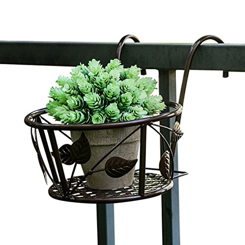 Tosnail 3 Pack Iron Art Hanging Baskets Flower Pot Holder - Great Patio Balcony Porch Fence - Brown ()