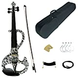 Kinglos 4/4 White Gray Flowers Colored Solid Wood Intermediate-A Electric / Silent Violin Kit with Ebony Fittings Full Size (DSZA1309)