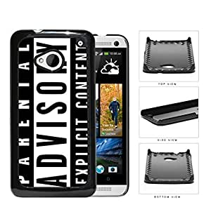 Parental Advisory Explicit Content Hard Plastic Snap On Cell Phone Case HTC One M7 by rushername