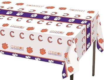 Elegant Creative Converting Clemson Tigers Plastic Table Cover, ...