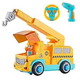 KidPal Take Apart Car STEM Toy Building Set for 3 4 5 Year Old Boy & Girl with Electric Toy Drill and Remote Control Construction Vehicle Kids Toy Crane Car, Build Your Own Car Toddler Toys Age 3 4 5