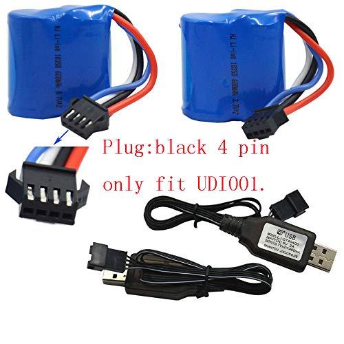 Blomiky 2 Pack 7.4V (2 x 3.7V) 600mAh UDI001 Li-ion Battery with SM-4P Connector Plug for UDI001 Venom Speed RC Boat UDI001 Battery 2