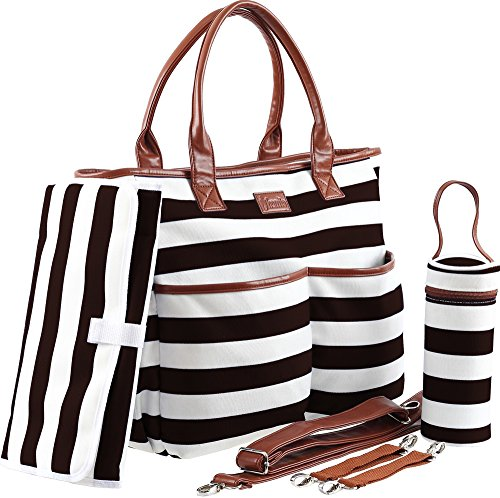 Diaper Bag - Machine Washable Designer Diaper Purse - Baby Shower Gifts - Diaper Bag For Girls - Large Striped Travel Diaper Tote Bag For Moms And Girls