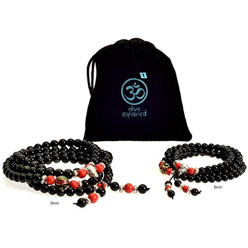 Price comparison product image Mala Beads Tibetan Meditation Buddhist Genuine Black 108 Obsidian Healing Stones Tiger Eye Gemstone Wrist Bracelet / Bead Necklace - For Prayer, Yoga, Mantras, Reiki, Mudras, Energy Work (8mm)