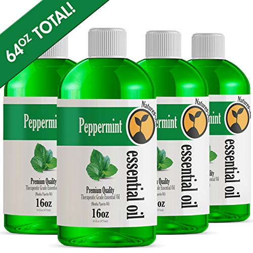 (4 Pack - Bulk Size Peppermint Essential Oil (64OZ Total) - Therapeutic Grade Essential Oil - 48 Fl Oz - 4 Pack of 16oz Bottles)