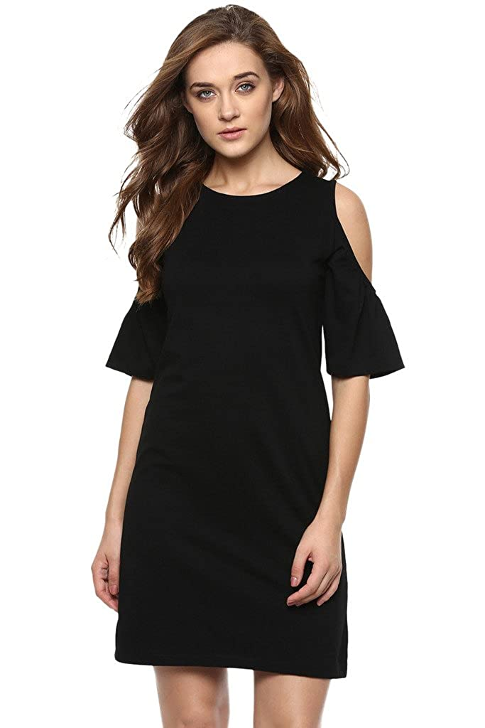 16a832de1f8 amazon.in. Miss Chase Women s Solid Shoulder Cut-Out Half-Sleeve Round Neck  Mini Dress