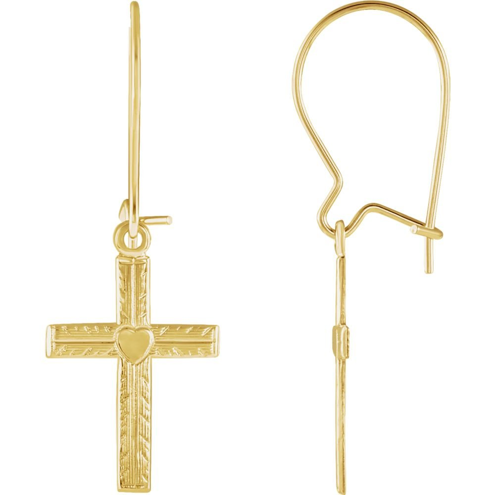FB Jewels 14K Yellow Gold Pair Polished Earwire With Cross
