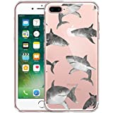 FINCIBO iPhone 7 Plus/8 Plus Case, Clear Transparent TPU Silicone Protector Cover Soft Gel Skin For Apple iPhone 7 Plus 2016/iPhone 8 Plus 2017 5.5 inch - Gray Sharks