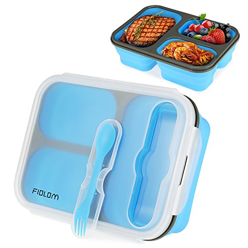 Bento Lunch Box, FIOLOM 3 Compartment Leakproof Meal Prep Container Portion Control Food Storage Container with Lid Fork Spoon Freezer Microwave & Dishwasher Safe Reusable Stackable Bento Box for Kids