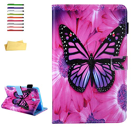 UUcovers Galaxy Tab A 7.0 2016 Folio Case, Slim Lightweight Stand PU Leather & TPU Magnetic Cover with Card Pocket Stylus/Pencil Holder for Samsung Tab A 7.0 SM-T280/T285 Tablet, Red Butterfly Flower