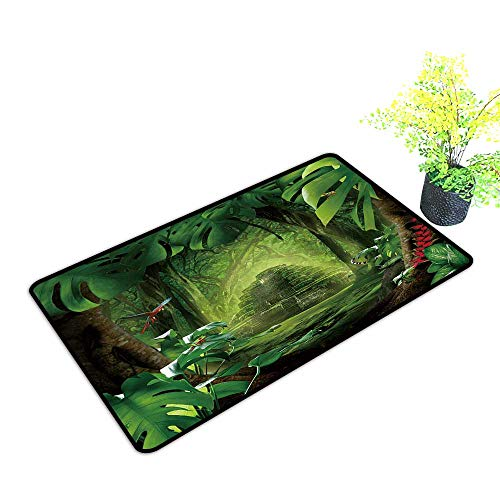 Extra Thick Door Mat Mystic Jungle Soak Up Water and Dirt W33 x H21 INCH