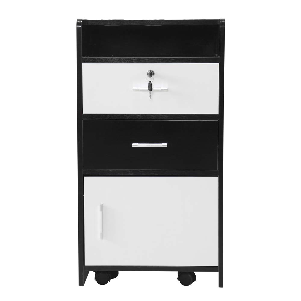 Salon Wood Rolling Drawer Cabinet Trolley Spa 3-Layer Cabinet Equipment with A Lock Black & White (Black&White) by hellowland (Image #1)