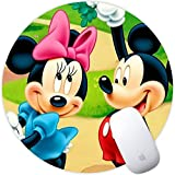 DISNEY COLLECTION Love Mickey Minnie Wallpaper Square Round Computer Gaming Mouse Pad Skidproof High Mouse Tracking for Office, Gaming, Home