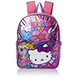 Hello Kitty Girls' Stars and Clouds 15 Backpack with Lunch Kit, Pink/Purple