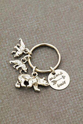 Grandma Mama Bear Keychain -   Mother's Day - Funny Arrow Cub Birthday - Stainless Steel Keyring