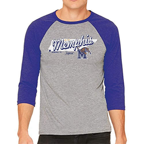 NCAA Memphis Tigers Men's 3/4 Baseball Tee, Small, Heather/Royal