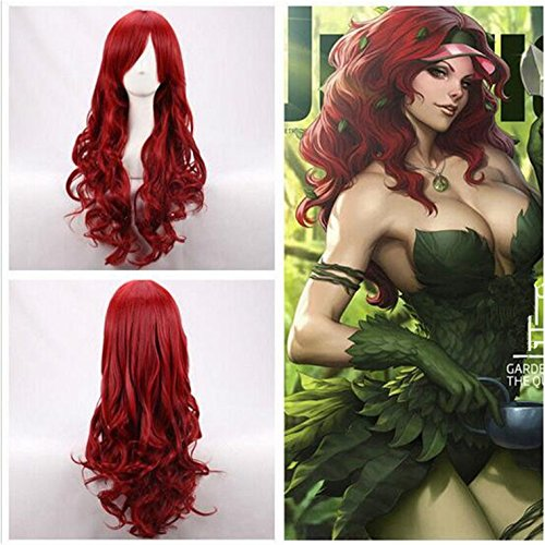 Cool2day New Arrival Hot Selling Fashion Long Wavy Heat Resistant Wine Red Hair Costume Party Full Wig+Free Wig Cap
