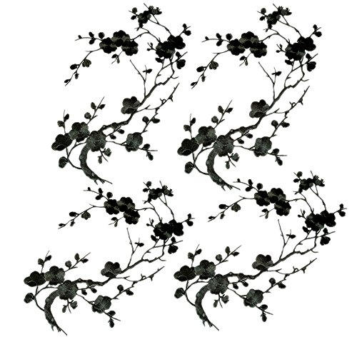 (4 Pcs Big Plum Blossom Blossom Iron On Patches Embroidery Flower Appliques 14.1