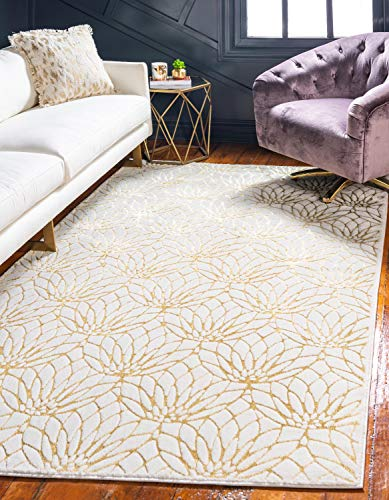 (Unique Loom Marilyn Monroe Glam Collection Textured Lotus Floral White Gold Area Rug (9' 0 x 12' 0))